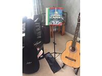 Jose Ferrer guitar, guitar stand, music stand and book
