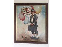 Original Signed William Moninet Clown Painting