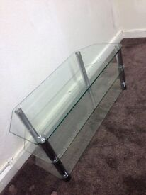 Quality Very Heavy Glass TV Table/ Stand with Shelfs Condition Can Deliver