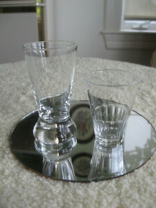 PAIR of SPARKLING CLEAR GLASS BAR GLASSES