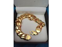9ct gold plated 925 s/s heavy 2 ounce mans bracelet