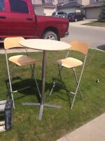 Ikea high bar table and 2 chairs