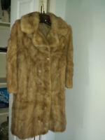 Womens petite small 3/4 length full pelted mink coat