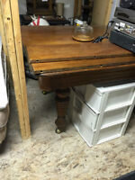 THE WISE SHOP ANTIQUE 5 LEGGED TABLE WITH LEAVES sale