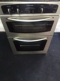 Stainless steel Electrolux 60cm integrated electric grill & double fan oven good condition with g