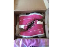 Ladies Pink Timberland Boots - Size UK 3.5