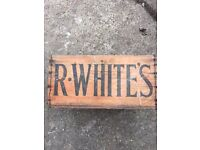 R WHITES wooden box £1 open to offers