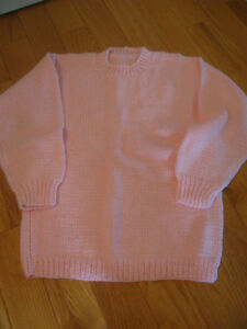 GORGEOUS HAND-CRAFTED SOFT PINK LONG SLEEVED KNITTED SWEATER