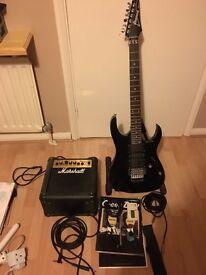 Ibanez guitar, Marshall amp + extras