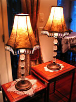 2 Rare vintage column lamps* French chic*Gorgeous beaded fringe