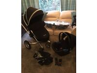 Unisex Black Silver Cross Surf 2 With NEW Carrycot