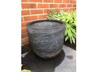 3 x Ribbed Egg Planters/garden pots