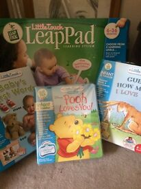 Pink leap pad learning system with extra 3 cassettes