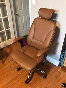 Leather office chair with headrest