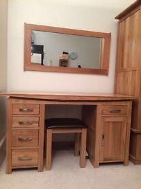 Solid oak dressing table/ computer desk