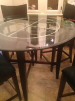 Pub Height Espresso Dining Table & Chairs