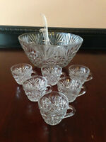 Glass punch bowl, ladle and 6 matching glasses