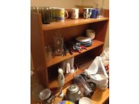 Drawers, kitchen equipment, clothes rail, bookcase