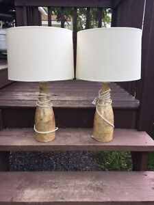 Pair of lamps with gold base & ivory shades