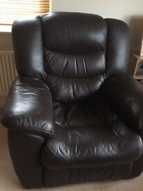 3 piece real leather suite with recliners