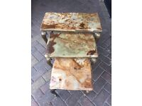 Antique Onyx Nest Of Tables
