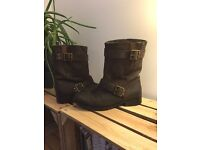 Brown leather Kangol Boots size 5