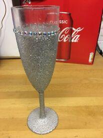 Set of 6 glitter champagne glasses