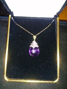 Diamond & amethyst pendant necklace