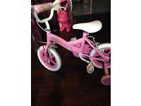 Girls princess bike with stabilisers