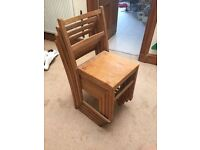 Four stackable wooden vintage school chairs