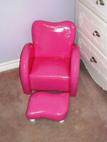 GIRL'S PINK LEATHERETTE CHAIR AND MATCHING OTTOMAN
