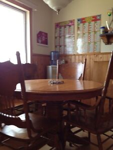 Kitchen table set seats 6 comfortably