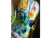 Baby bouncer and Moses basket