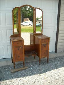 Vanity with Tri-Fold Mirrors & 6 Drawers, over 80 years old. Peterborough Peterborough Area image 2