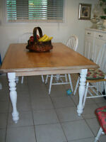 OAK TABLE VERY THICK! SOLID! CALL 905-686-7204-AJAX-  (65 1/2L,