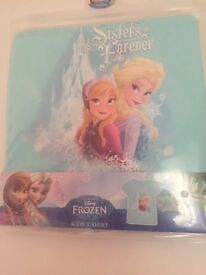"Brand new Frozen t-shirt. ""Sisters forever"" sizes 18-24 months upto 7-8 years"