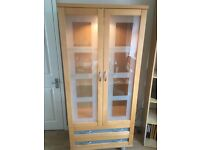 Beautiful beech display cabinet with integrated light and drawers