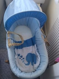 Boys Moses basket and rocking stand