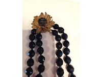 Antique Miriam Haskel 1950 signed jet double strand beads necklace.