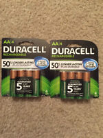 DUracell Rechargeable  2400 MAH AA Batteries 5YR. Gaureented