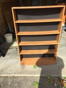 Oak Coloured 5 shelf wood storage unit.