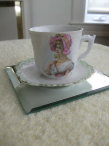 MINIATURE OLD VINTAGE BONE CHINA DECORATIVE CUP & SAUCER [AS IS
