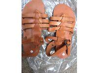 Job lot of original Greek leather sandels different sizes