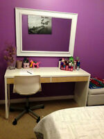 White desk w/ shelving unit and white side table!