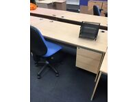 8 x quality straight desks built in draws on clearance @ just £70 each!! Includes swivel chair