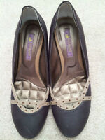 Dark Purple Leather Dress Shoes with Red Rhinestones (size 7)