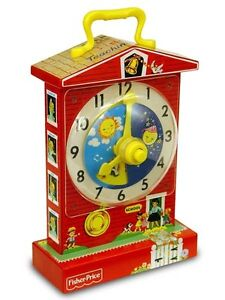 Fisher Price TEACHING CLOCK MUSIC BOX 1698 Retro vtg repro NEW Tick Tock toy