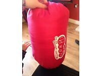 SINGLE PINK SLEEPING BAG IN GOOD CONDITION CAMPING