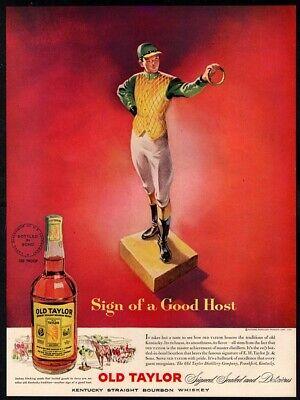 1951 OLD TAYLOR Bourbon Whiskey - Jockey - Alcohol - Color Print VINTAGE AD