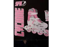 SFR Cyclone Childrens Adjustable Inline Skates - White Pink UK 12-2